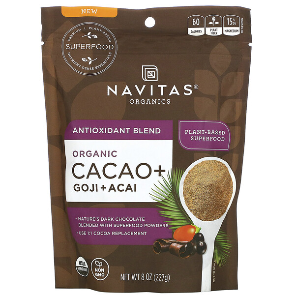 Navitas Organics, Antioxidant Blend, Organic Cacao + Goji + Acai, 8 oz (227 g)