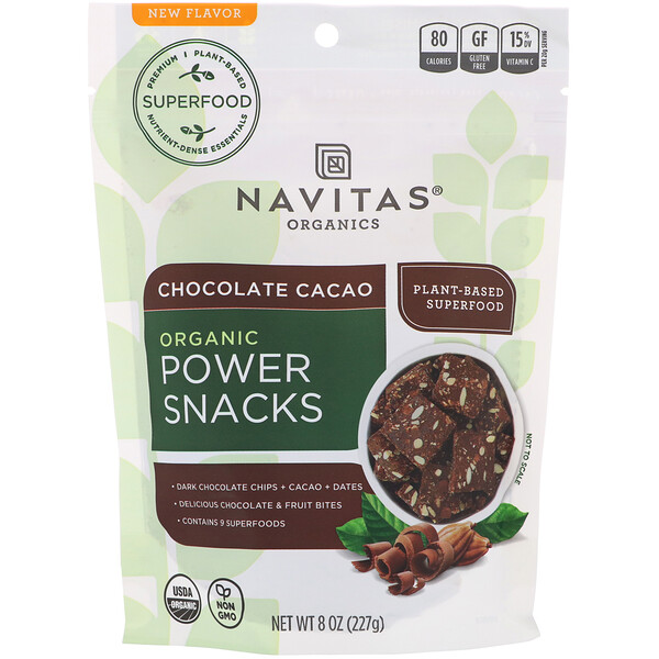 Navitas Organics, Power Snacks, 초콜릿 카카오, 227g(8oz)