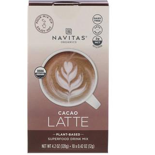 Navitas Organics, Latte Superfood Drink Mix, Cacao, 10 Packets, 0.31 oz (9 g) Each