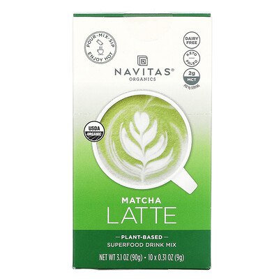 Купить Navitas Organics Latte Superfood Drink Mix, Matcha, 10 Packets, 0.31 oz (9 g) Each