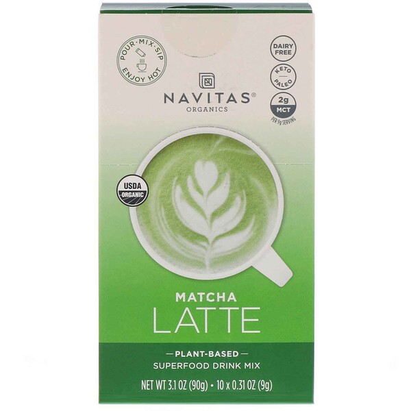 Navitas Organics, Latte Superfood Drink Mix, Matcha, 10 Packets, 0.31 oz (9 g) Each