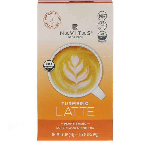 Navitas Organics, Latte Superfood Drink Mix, Turmeric, 10 Packets, 0.31 oz (9 g) Each