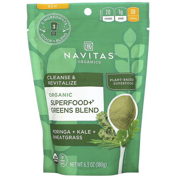 Navitas Organics, Organic Superfood+ Greens Blend, Moringa + Kale + Wheatgrass, 6.3 oz (180 g)
