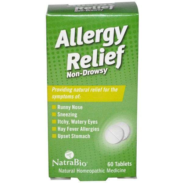 NatraBio, Allergy Relief, Non-Drowsy, 60 Tablets