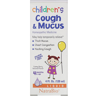 NatraBio, Children's Cough & Mucus, Alcohol Free, Yummy Berry Natural Flavor, 4 Months and Up, 4 fl oz (120 ml)