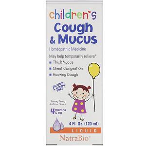NatraBio, 兒童受涼咳痰糖漿,漿果味,4 液量盎司(120 毫升)'
