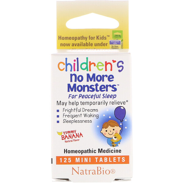 NatraBio, Children's No More Monsters, Yummy Banana Natural Flavor, 125 Mini Tablets