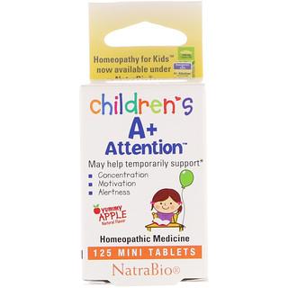 NatraBio, Children's A+ Attention, 125 Mini Tablets
