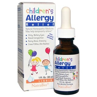 NatraBio, Children's Allergy Relief, Fórmula Sin Alcohol, Líquido, 1 fl oz (30 ml)