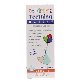 NatraBio, Children's Teething Relief, Non-Alcohol Formula, Liquid, 1 fl oz (30 ml)