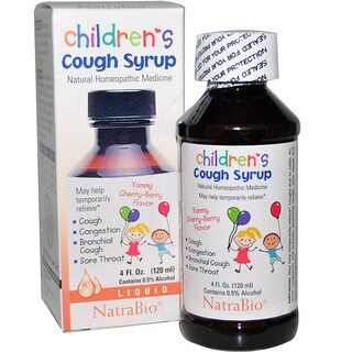 NatraBio, Children's Cough Syrup, Yummy Cherry-Berry Flavor, 4 fl oz (120 ml)