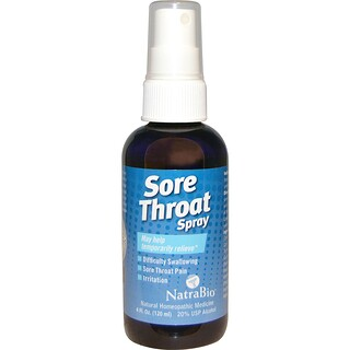 NatraBio, Sore Throat Spray, Temporarily Relieve, 4 fl oz (120 ml)