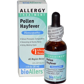 NatraBio, bioAllers, Allergy Treatment, Pollen Hayfever, 1 fl oz (30 ml)