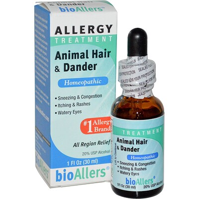 bioAllers, лечение аллергии, шерсть животных и перхоть, 1 жидкая унция (30 мл)