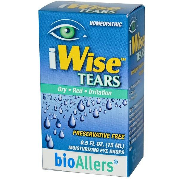NatraBio, BioAllers, iWise Tears, Moisturizing Eye Drops, 0.5 fl oz (15 ml) (Discontinued Item)