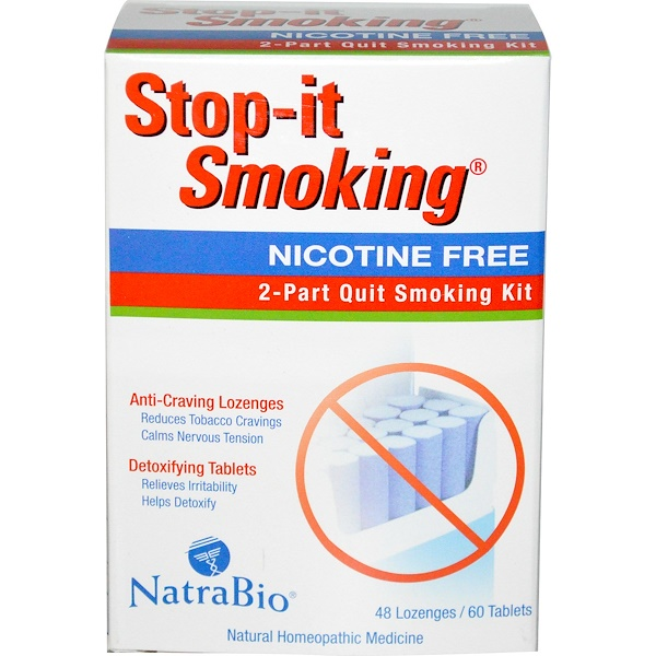 NatraBio, Stop-it Smoking, 2-Part Quit Smoking Kit, Nicotine Free, 48 Lozenges / 60 Tablets (Discontinued Item)