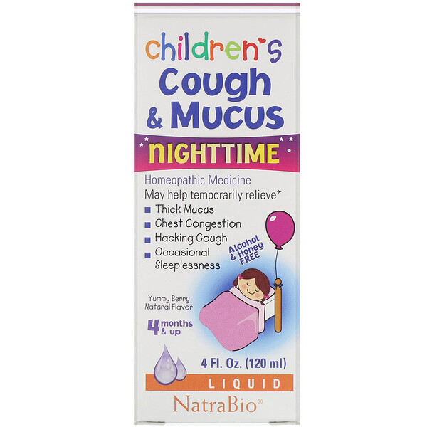 Children's Cough & Mucus, NightTime, Alcohol Free, Yummy Berry Natural Flavor, 4 Months and Up, 4 fl oz (120 ml)