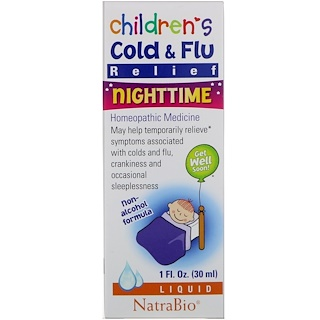 NatraBio, Children's Cold & Flu, Nighttime, 1 fl oz (30 ml)