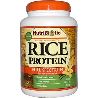 NutriBiotic, Vegan Rice Protein, Full Spectrum, Natural Vanilla Flavor, 1 lb 4 oz (570 g)