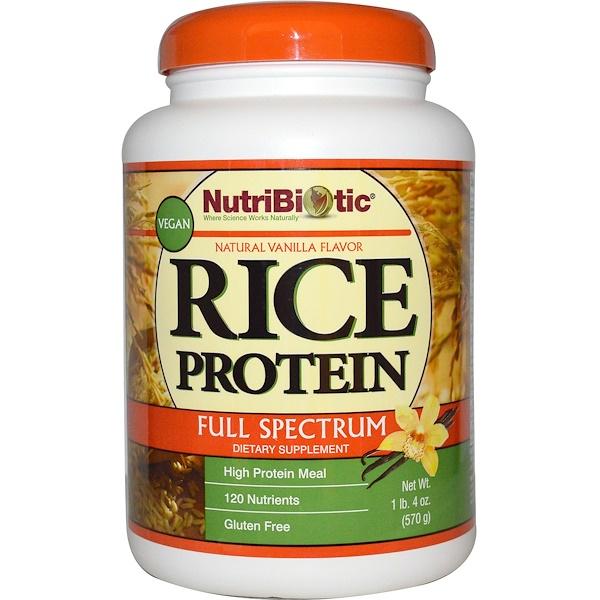 NutriBiotic, Vegan Rice Protein, Full Spectrum, Natural Vanilla Flavor, 1 lb 4 oz (570 g)