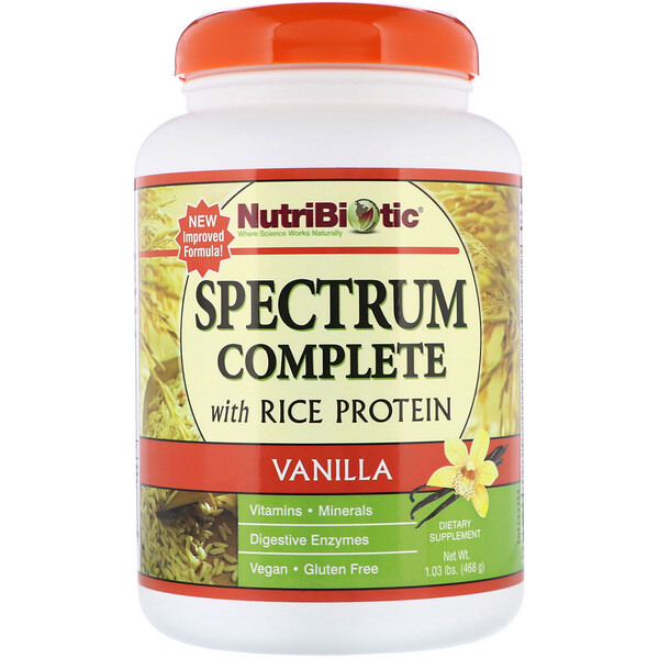 NutriBiotic, Spectrum Complete with Rice Protein, Vanilla, 1.03 lbs (468 g)