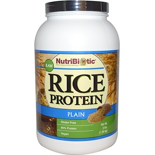 NutriBiotic, Raw, Rice Protein, Plain, 3 lbs (1.36 kg)