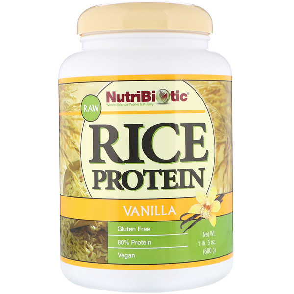 NutriBiotic, Raw Rice Protein, Vanilla, 1 lb 5 oz (600 g) (Discontinued Item)