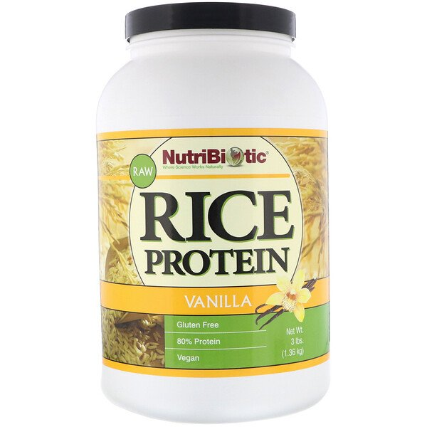 NutriBiotic, Raw Rice Protein, Vanilla, 3 lb (1.36 kg)