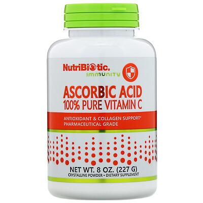 NutriBiotic Аскорбиновая кислота, 100 % чистый витамин С, кристаллический порошок, 227 г (8 унций)