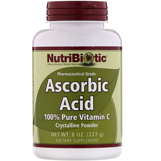 NutriBiotic, Ascorbic Acid, 100% Pure Vitamin C, Crystalline Powder, 8 oz (227 g)