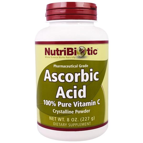 NutriBiotic, Ascorbic Acid, 100% Pure Vitamin C Crystalline Powder, 8 oz (227 g)