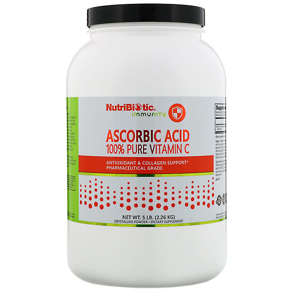NutriBiotic, Immunity, Ascorbic Acid, 100% Pure Vitamin C, Crystalline Powder, 5 lb (2.26 kg)