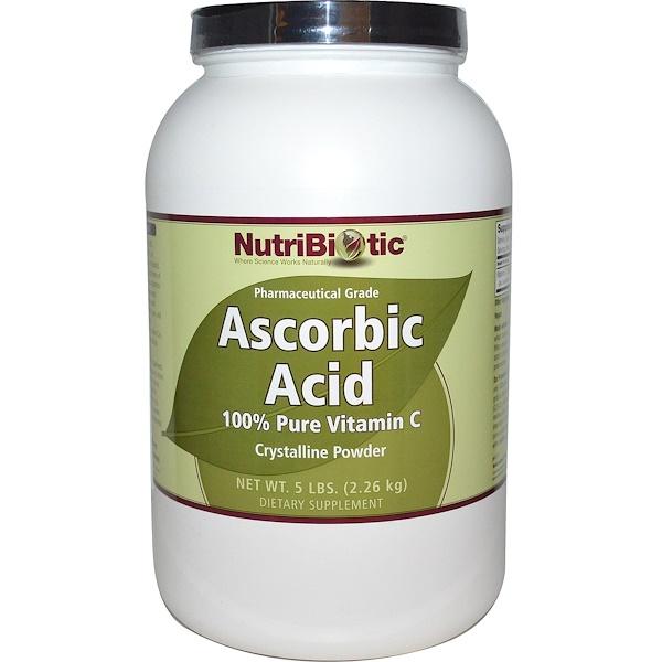 NutriBiotic, 抗壞血酸,100%純正維生素C,晶體粉末,5磅(2、26千克)