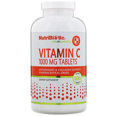 NutriBiotic Immunity, витамин C, 1000 мг, 500 веганских таблеток