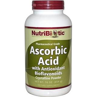 NutriBiotic, アスコルビン酸、抗酸化物質のバイオフラボノイド入り、 結晶性粉末、 16オンス (454 g)