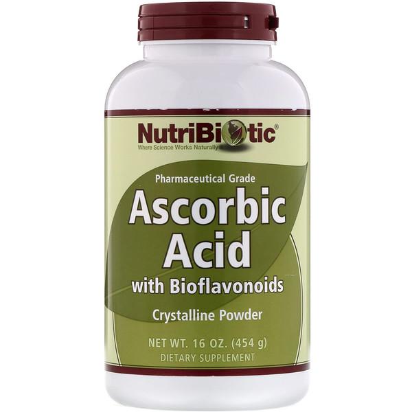 NutriBiotic, Ascorbic Acid with Bioflavonoids, Crystalline Powder, 16 oz (454 g)