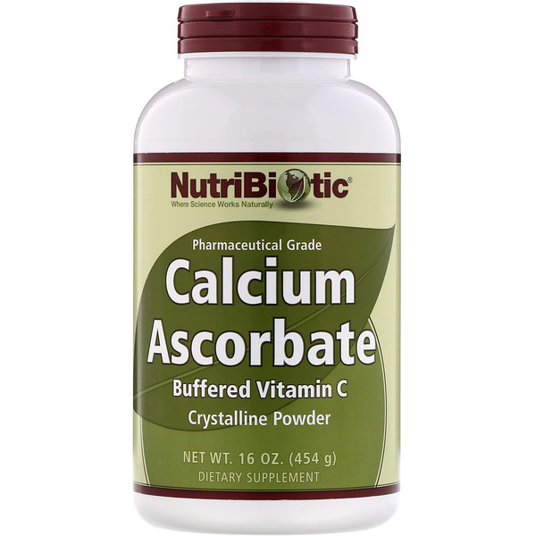 NutriBiotic, アスコルビン酸カルシウム、結晶性粉末、16 オンス (454 g)