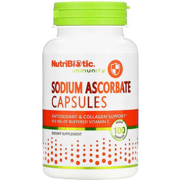 NutriBiotic, Immunity, аскорбат натрия, 100веганских капсул