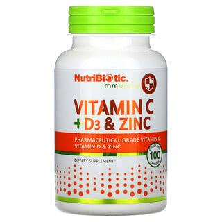 NutriBiotic, 機體抵抗,維生素 C + D3 和鋅,500 毫克,100 粒膠囊