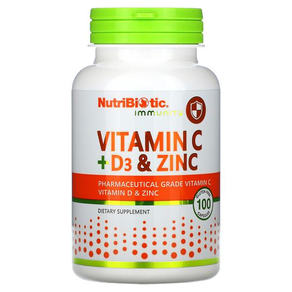 NutriBiotic, Immunity, Vitamin C + D3 & Zinc, 100 Capsules