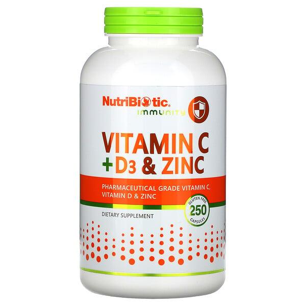 NutriBiotic, Immunity, Vitamin C + D3 & Zinc, 250 Capsules