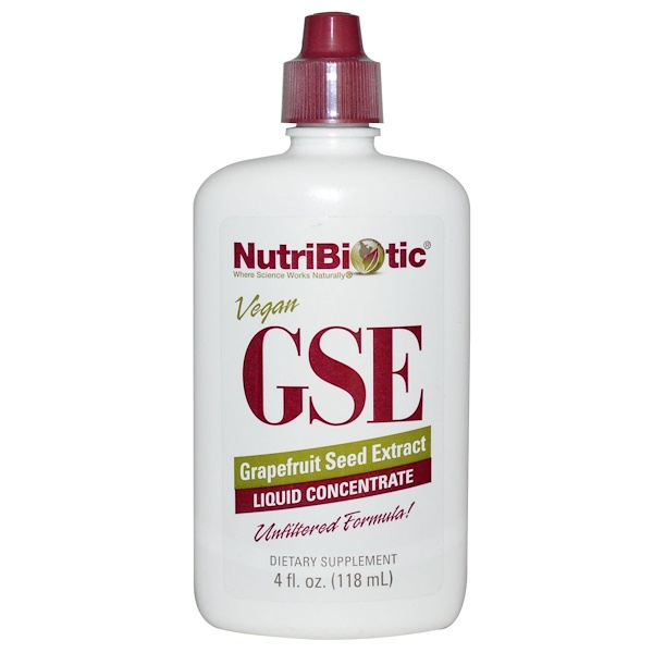 NutriBiotic, GSE Grapefruit Seed Extract, Liquid Concentrate, 4 fl oz (118 ml)