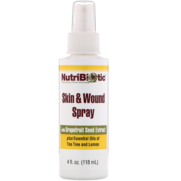 NutriBiotic, Skin & Wound Spray with Grapefruit Seed Extract, 4 fl oz (118 ml)