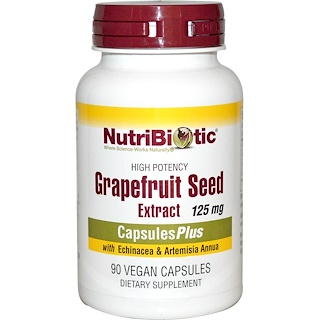 NutriBiotic, Grapefruit Seed Extract, With Echinacea & Artemisia Annua, 125 mg, 90 Veggie Caps