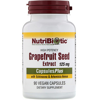 NutriBiotic, Grapefruit Seed Extract, With Echinacea & Artemisia Annua, High Potency, 125 mg, 90 Vegan Capsules