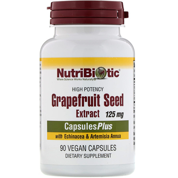 NutriBiotic, Grapefruit Seed Extract with Echinacea & Artemisia Annua, High Potency, 125 mg, 90 Vegan Capsules