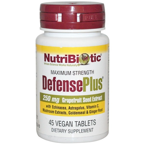 NutriBiotic, DefensePlus, Maximum Strength, 250 mg, 45 Vegan Tablets