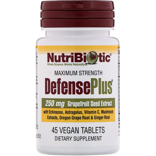 NutriBiotic, DefensePlus, Máxima Fuerza, 250 mg, 45 Tabletas Veganas