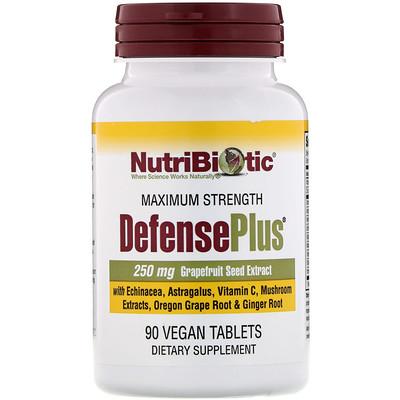 NutriBiotic DefensePlus, максимальная эффективность, 90 веганских таблеток