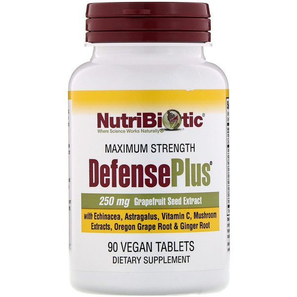 NutriBiotic, DefensePlus, Maximum Strength, 90 Vegan Tablets